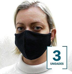 Kit com 3 Máscaras Pretas de Elásticos para Fixação nas Orelhas