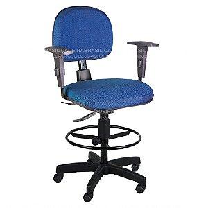 Cadeira Caixa Alta Giratória Secretária - Base Aço com Capa - Pés Giratórios - Mecanismo Ergonômico - Com Braços - Ravan CB 3086