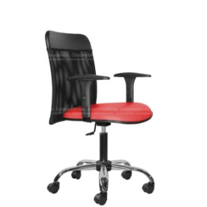 Cadeira Escritório Executiva - Com Braços - Base Cromada - New Tela CB 2014