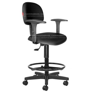 Cadeira Caixa Alta Secretária Giratória - Com Braços - Base Aço Capa - CB 1854