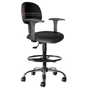 Cadeira Caixa Alta Secretária Giratória - Com Braços - Base Cromada - CB 1886