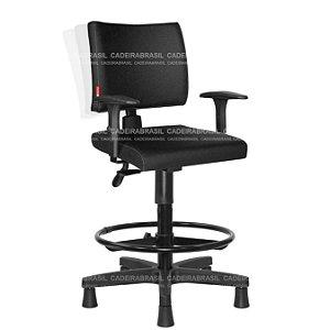 Cadeira Caixa Alta Ergonômica com Braços Base Aço Capa Ideale CB 3022