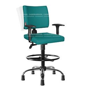 Cadeira Caixa Alta Ergonômica Executiva com Braços Base Cromada Ideale Plus CB 3023