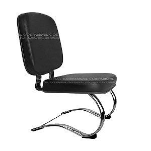 Cadeira Diretor Fixa - Base Contínua Elíptica Cromada - Suporta 150 kg - Bigger CB 707