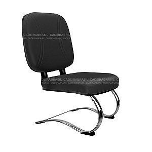 Cadeira Diretor Fixa Plus - Base Contínua Elíptica Cromada - Suporta 150 kg - Bigger CB 708
