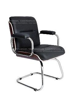 Cadeira Diretor Fixa Interlocutor e Atendimento - Base Cromada - Wooden CB 409