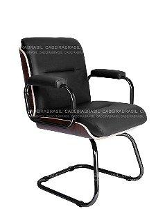 Cadeira Diretor Fixa Interlocutor e Atendimento - Base Aço Preto - Wooden CB 410
