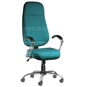 Cadeira Escritório Presidente Extra Giratória com Braços e Base Cromada Firenze CB 500
