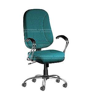 Cadeira Escritório Presidente Giratória com Braços e Base Cromada Firenze CB 501