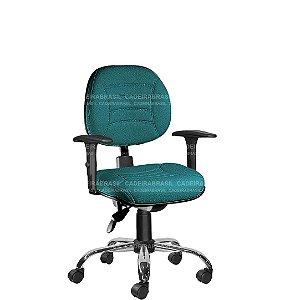 Cadeira Ergonômica Executiva Giratória com Braços Reguláveis e Base Cromada Firenze CB 504