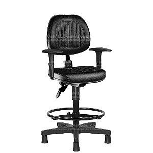 Cadeira Caixa Ergonômica Executiva com Braços Reguláveis e Base Aço Capa Milão CB 307
