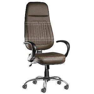 Cadeira Escritório Presidente Extra Giratória com Braços e Base Cromada Milão Plus CB 350