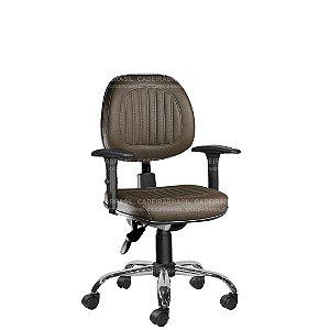 Cadeira Ergonômica Executiva Giratória com Braços Reguláveis e Base Cromada Milão Plus CB 354