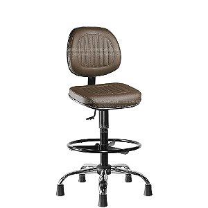 Cadeira Caixa Executiva Giratória com Base Cromado e Apoio de Pés Preto Milão Plus CB 356