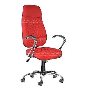 Cadeira Escritório Presidente Extra Giratória com Braços e Base Cromada Senna CB 400