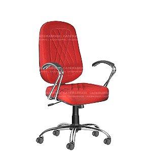 Cadeira Escritório Presidente Giratória com Braços e Base Cromada Senna CB 401