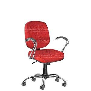 Cadeira Escritório Diretor Giratória com Braços e Base Cromada Senna CB 402