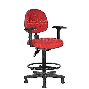 Cadeira Caixa Ergonômica Executiva com Braços Reguláveis e Base Aço Capa Senna CB 407