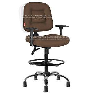 Cadeira Caixa Ergonômica Executiva Cromada com Braços Reguláveis Siena Plus CB 1404