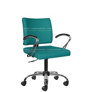 Cadeira Escritório Executiva com Braços Base Cromada Ideale Plus CB 3031