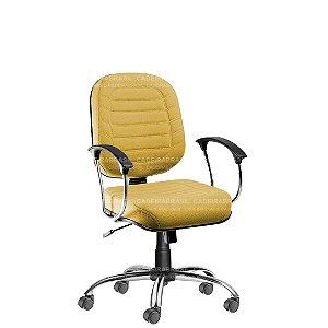 Cadeira Escritório Diretor Giratória com Braços e Base Cromada Lacerta CB 710