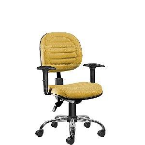 Cadeira Ergonômica Executiva Giratória com Braços Reguláveis e Base Cromada Lacerta CB 716