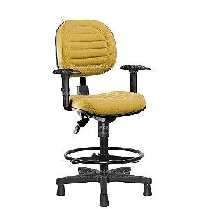 Cadeira Caixa Ergonômica Executiva com Braços Reguláveis e Base Aço Capa Lacerta CB 718