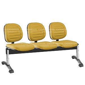 Longarina 3 Lugares Executiva Lacerta CB 741 Cromada Cadeira Brasil