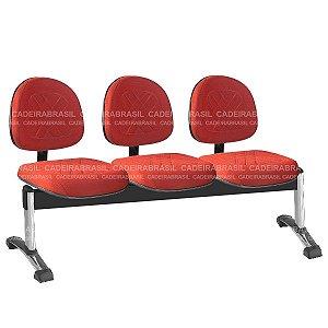 Longarina 3 Lugares Executiva Senna CB 433 Cromado Cadeira Brasil