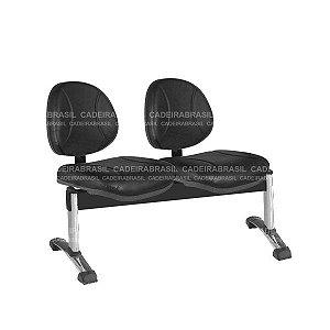 Longarina 2 Lugares Executiva Operativa Plus CB 194 Cromado Cadeira Brasil