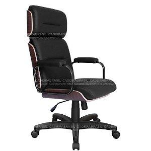 Cadeira Presidente Giratória com Apoio de Cabeça Wooden CB 4006 Cadeira Brasil