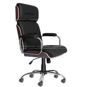 Cadeira Presidente Giratória com Apoio de Cabeça Wooden CB 4005 Cadeira Brasil