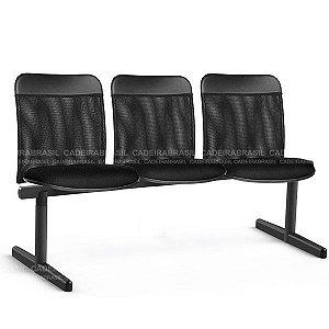 Longarina 3 Lugares New Tela CB 2033 Cadeira Brasil