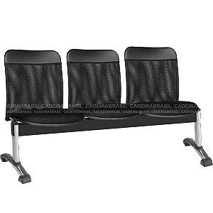 Longarina 3 Lugares New Tela CB 2045 Cadeira Brasil
