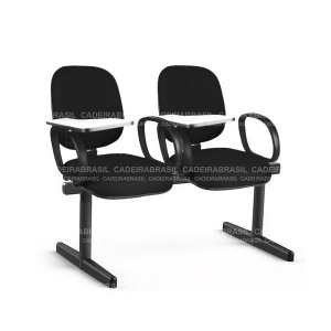 Longarina 2 Lugares Diretor Ravan CB 232 Prancheta Escamoteável Cadeira Brasil
