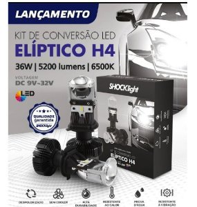KIT MINI PROJETOR H4 ELÍPTICO - SHOCKLIGHT