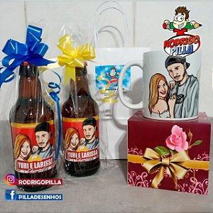 Kit 2 Cervejas + 1 Caneca com caricaturas do casal