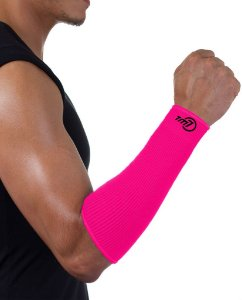 Protetor De Antebraço Para Voleibol Brac7 Curto Rosa Punho Preto