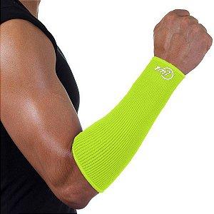 Protetor De Antebraço Para Voleibol Brac7 Curto Amarelo Punho Branco