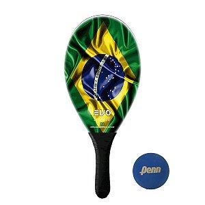 Raquete Frescobol Evo Fibra de Vidro Brasil com Bola Penn