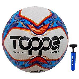 Bola Futebol Campo Topper Samba Com Bomba De Ar
