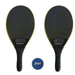 Kit Raquetes Frescobol Evo Carbon Profissional Preto com Bola Penn