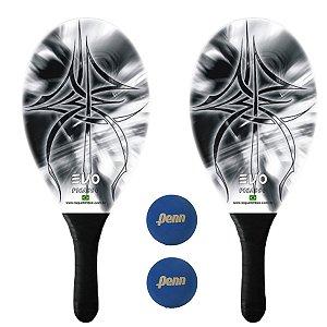 Kit Raquetes Frescobol Evo Fibra Vidro Empire com 2 Bolas Penn