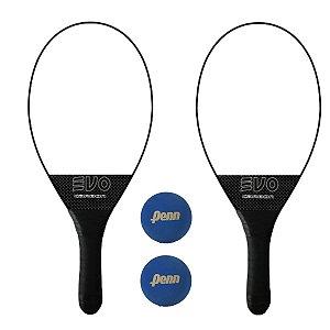 Kit Raquetes Frescobol Evo Carbon Profissional com  2 Bolas Penn