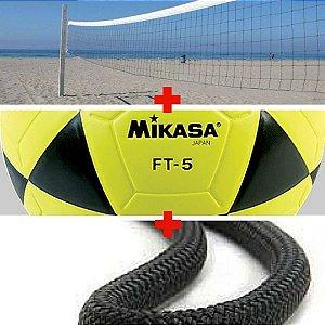Combo Futevôlei Mikasa Ft5 + Rede 1 Faixa + Marcação de Corda