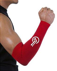 Protetor De Antebraço Longo Para Voleibol BRAC7 Vermelho Logo