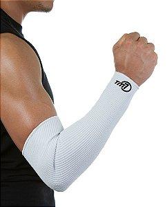 Protetor De Antebraço Longo Para Voleibol BRAC7 Branco no Punho