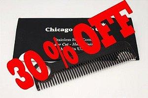 Pente Aço Inoxidável - Chicago Comb. Modelo # 1 - Black ( Negro - Fosco -Texturizado )
