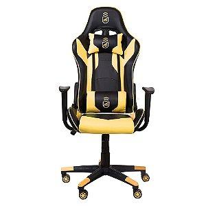Cadeira Gamer Phantom Preta com Amarelo - Corretor de postura + inclinação avançada - Gshield