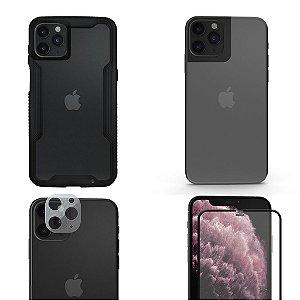 Kit 4 em 1 Película Defender Glass + Câmera + Nano Traseira + Capa Dual Shock Para iPhone 11 Pro - Gshield